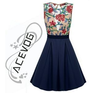 Floral Embroidered Mesh Cocktail Dress by Acevog